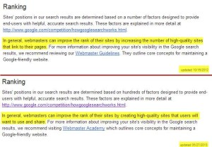 Google finally indicates directly what has been clear indirectly or quite some time...