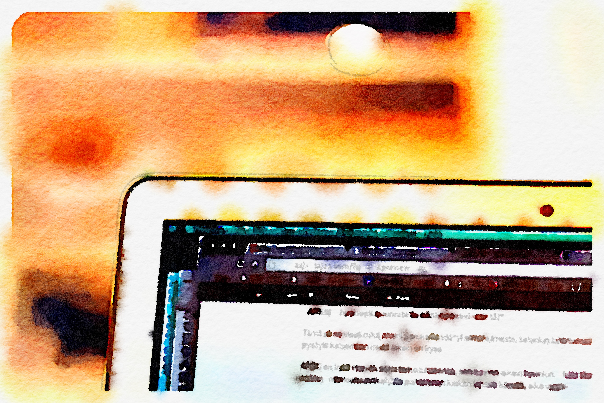 A watercolor mac, created with Waterlogue, an app featured below