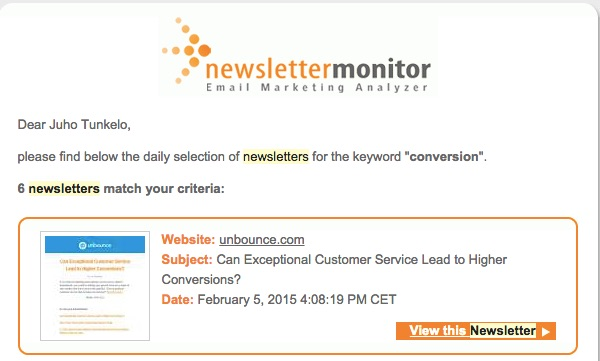 Newsletter monitor will alert you whenever the keywords you specified appear in newsletters they monitor... cool or what?